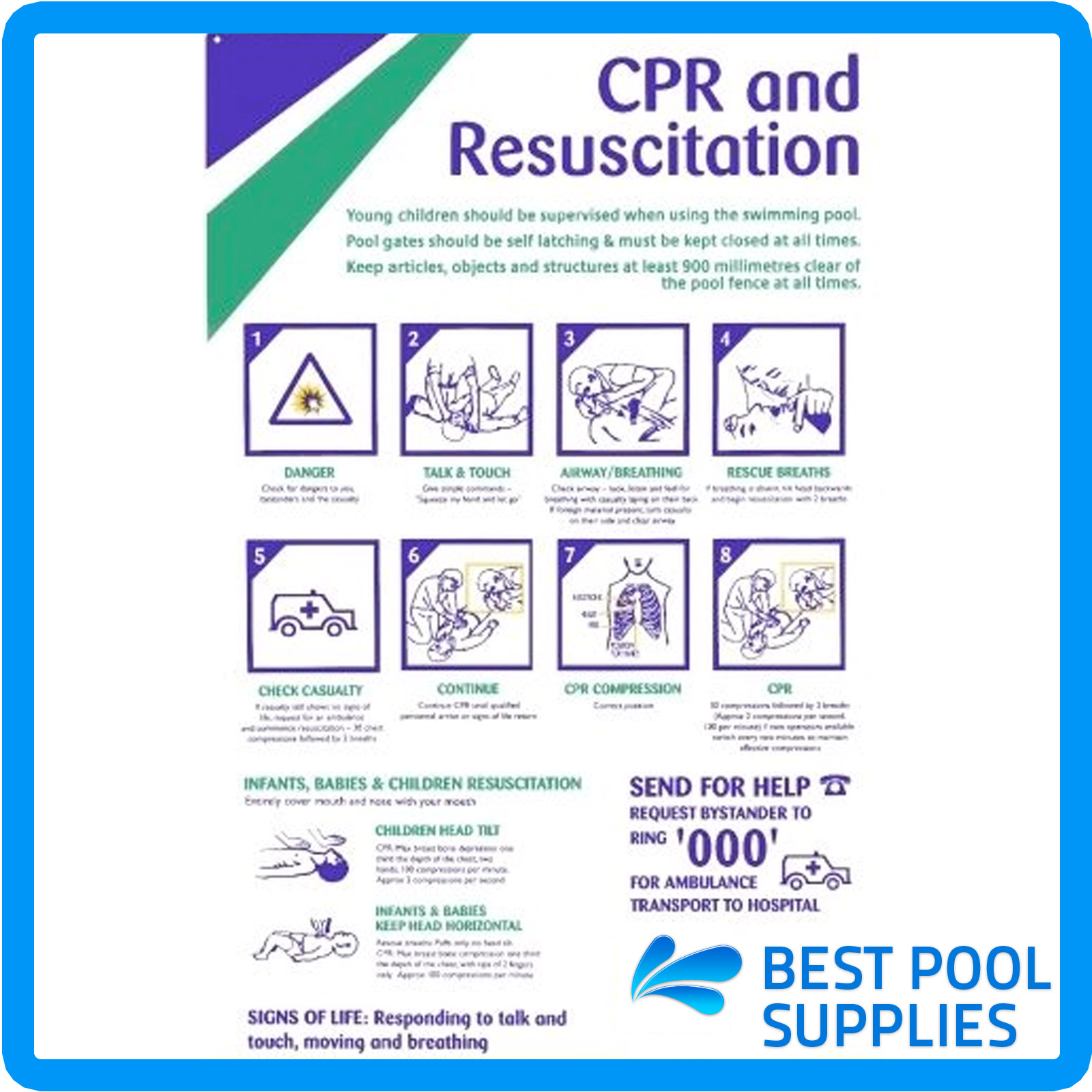 Cpr Sign Resuscitation Chart Swimming Pools And Spas Large Uv Resistant Pvc