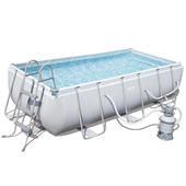 Bestway 4.04m x 2.01m x 1m Power Steel™ Frame Pool with 530gal Sand Filter Pump - 56660 - FREE SOLAR POOL COVER