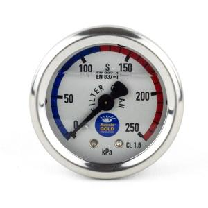 Pressure Gauge For Pool Filters  - Oil Filled - Stainless Steel - Back Mount