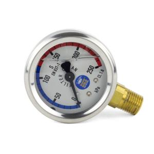 Pressure Gauge For Pool Filters  - Oil Filled - Stainless Steel - Lower Mount